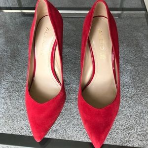 Aldo red pumps with chrome heel size 7